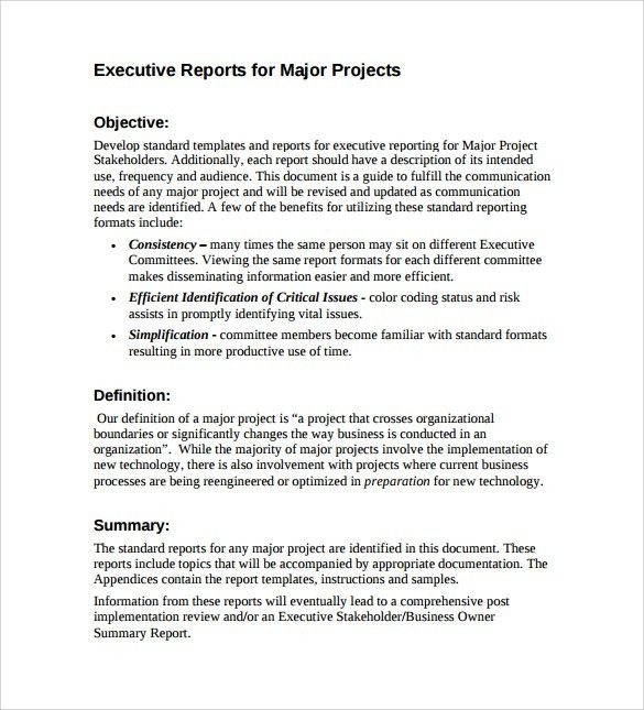 Example Executive Summary Report 10 sample business report free – Project Executive Summary Template
