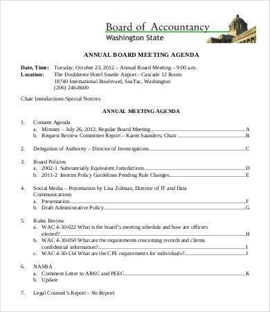 Nonprofit Board Meeting Agenda Template Board Meeting Agenda 11 - sample meeting agenda 2