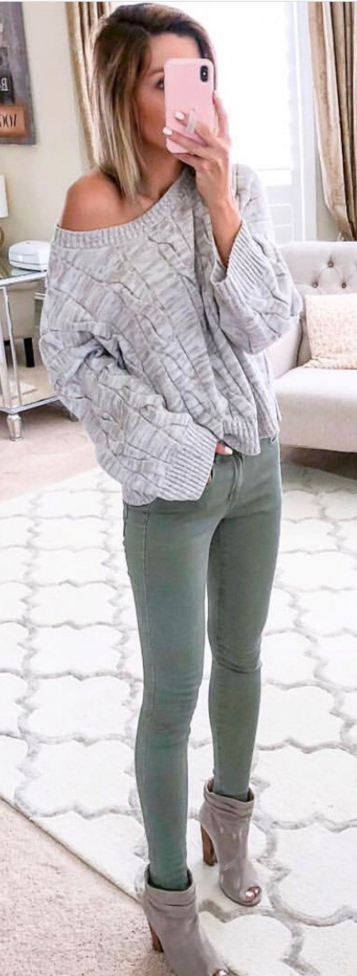 gray one-shoulder sweater