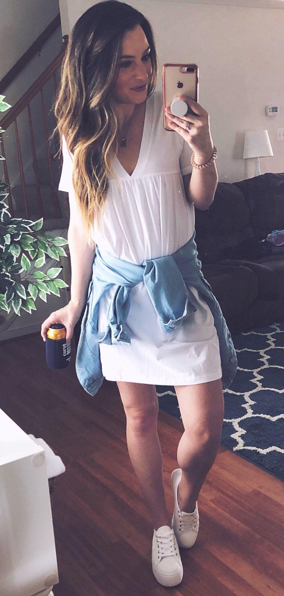 white sleeveless dress #spring #outfits
