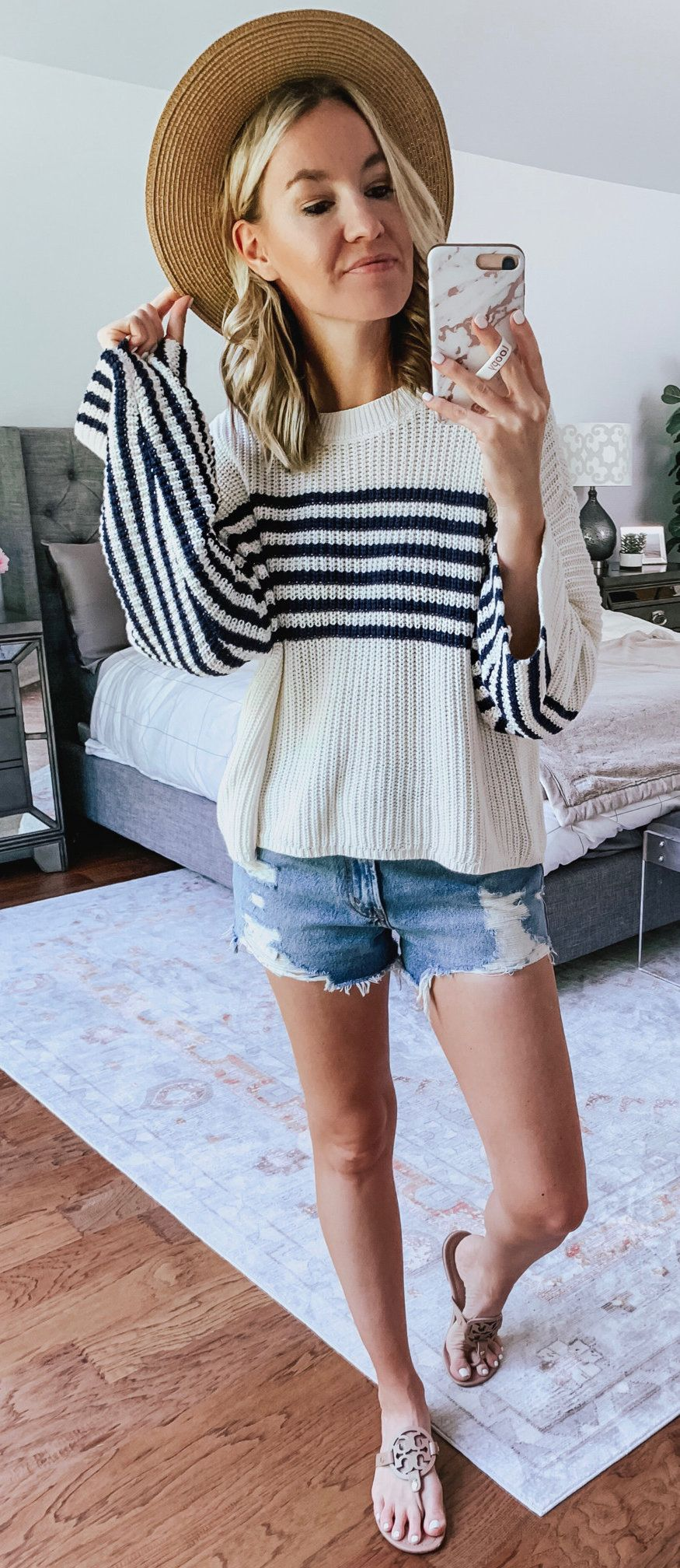 gray and black striped sweater #summer #outfits