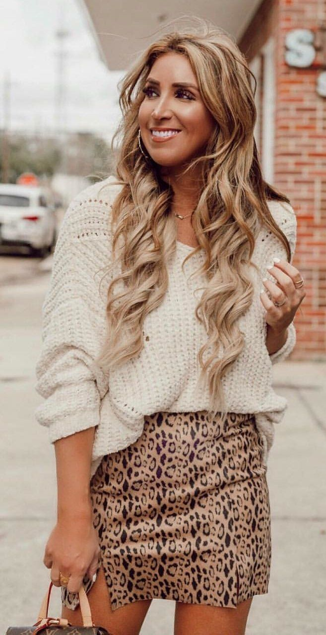white knit blouse and brown miniskirt