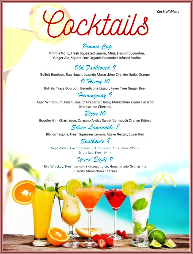Cocktail Menu Template Free Download Cocktail Menu Template 49 - sample drink menu template