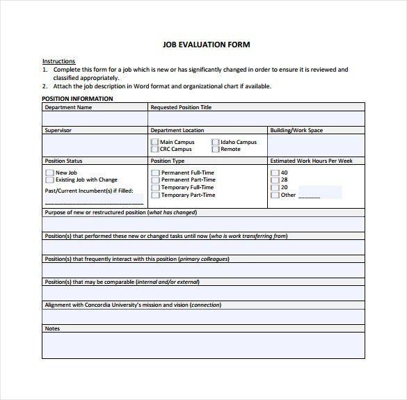 Job evaluation form plainresume performance evaluation template free employee performance review job evaluation form pronofoot35fo Choice Image