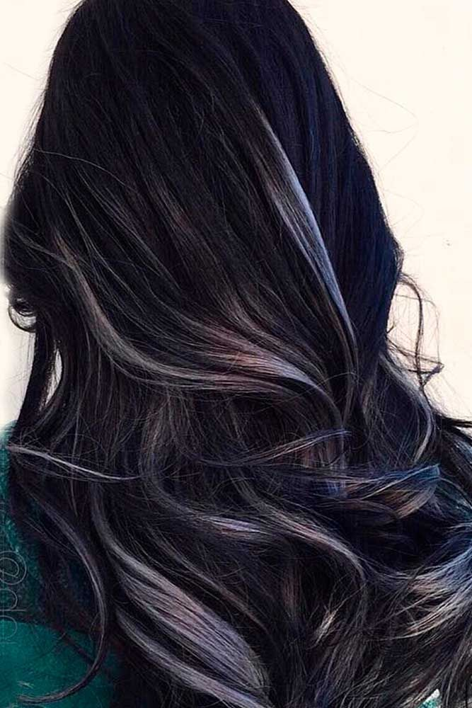 Silver Streaks #longhair #wavyhair ★ Light and dark brown hair with highlights and lowlights looks spectacular. Discover trendy color ideas for short and long hairstyles. #glaminati #lifestyle #brownhairwithhighlights