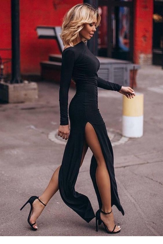 Just a black dress with sandals