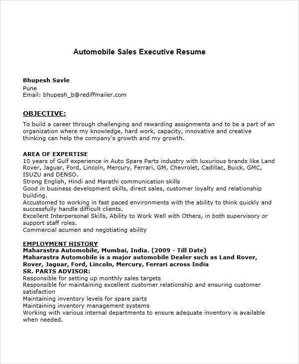 Automobile Sales Resume Salesperson Resume, Car Sales Resume - sales executive resume