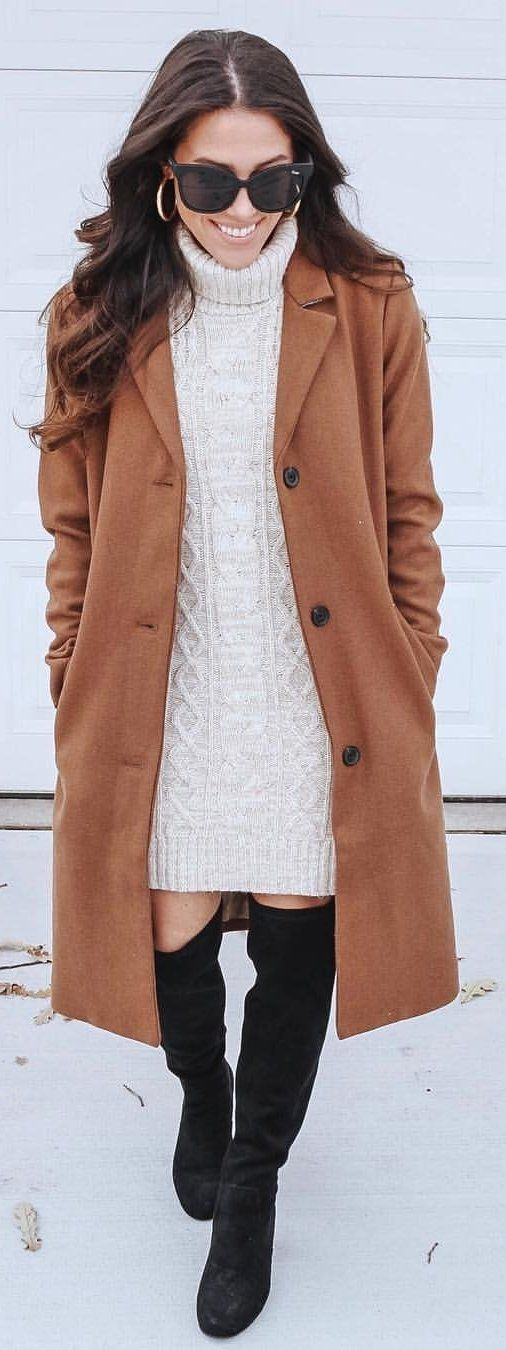 beige cable knit dress and brown coat