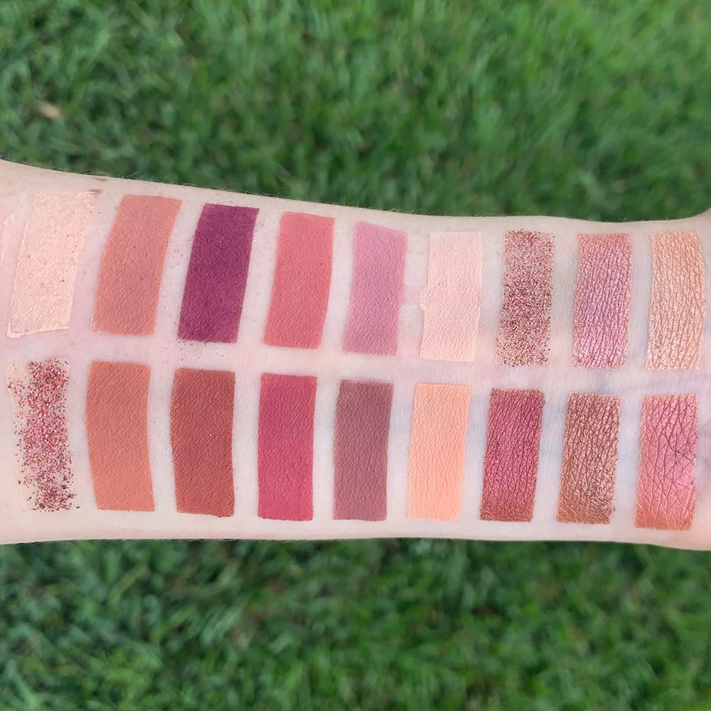 Huda Beauty the New Nude Palette Swatched on pale skin