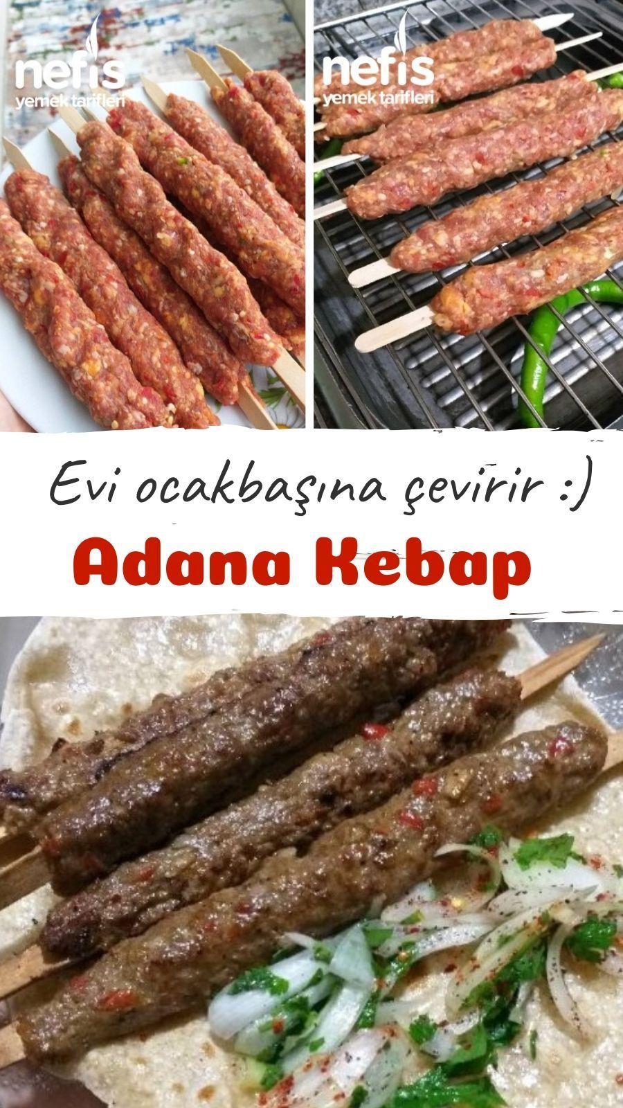 Evde Adana (Köfte) Kebabı Tarifi nasıl yapılır? 4.707 kişinin defterindeki bu tarifin resimli anlatımı ve deneyenlerin fotoğrafları burada.