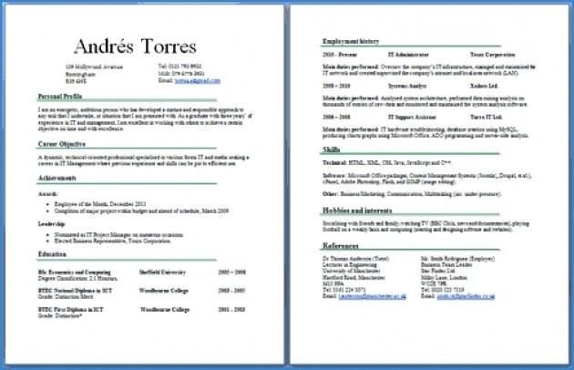 Two Page Resume Format 2 Page Resume Example 2 Page Resumes Two - iwork resume templates