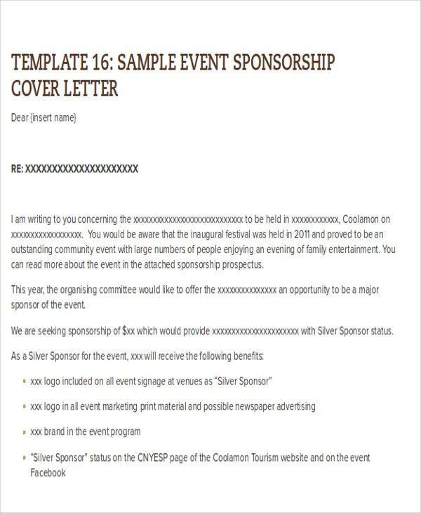 Event Sponsorship Cover Letter Sponsorship Proposal Cover Letter - event proposal letter