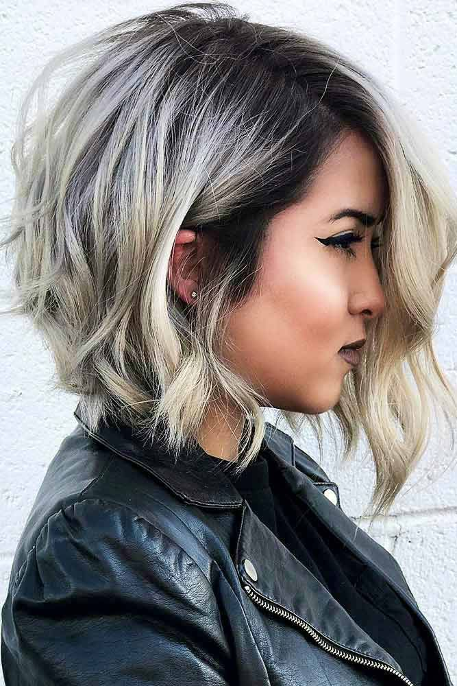Wavy Asymmetrical Ombre Bob  #ombrehair #wavyhair ★ Wavy, straight asymmetrical bob hairstyles for short and medium hair without and with bangs can be found in our gallery. Be edgy and stylish! #glaminati #lifestyle #asymmetricalbob