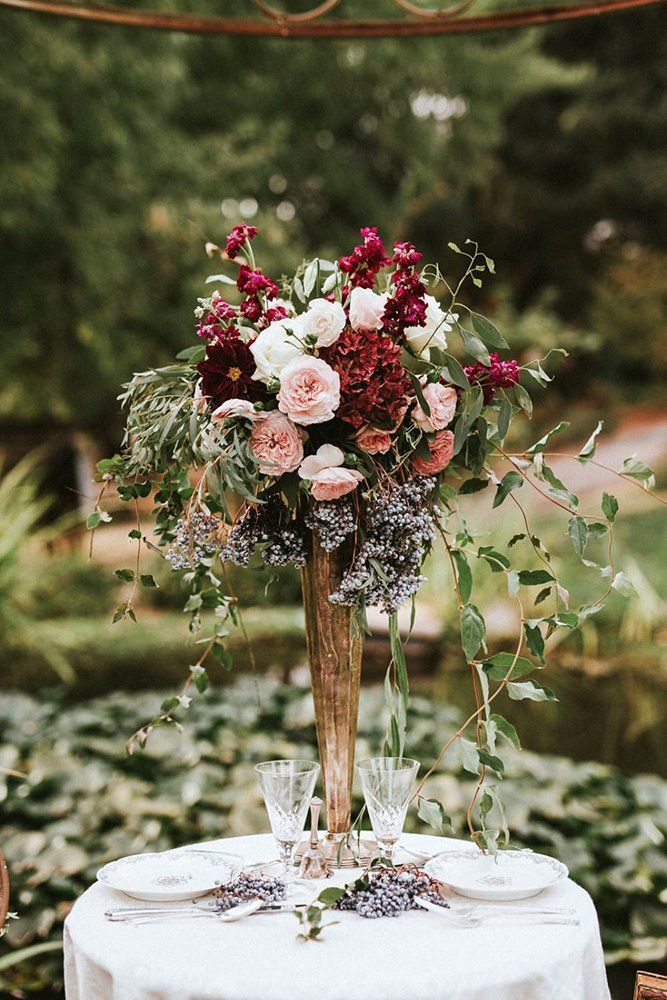 39 Gorgeous Tall Wedding Centerpieces ❤ tall wedding centerpieces gold vase with burgundy flowers with love by georgie #weddingforward #wedding #bride #weddingdecor #tallweddingcenterpieces