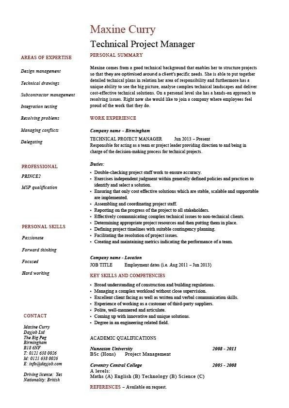 Construction Project Manager Resume Sample Project Manager Cv