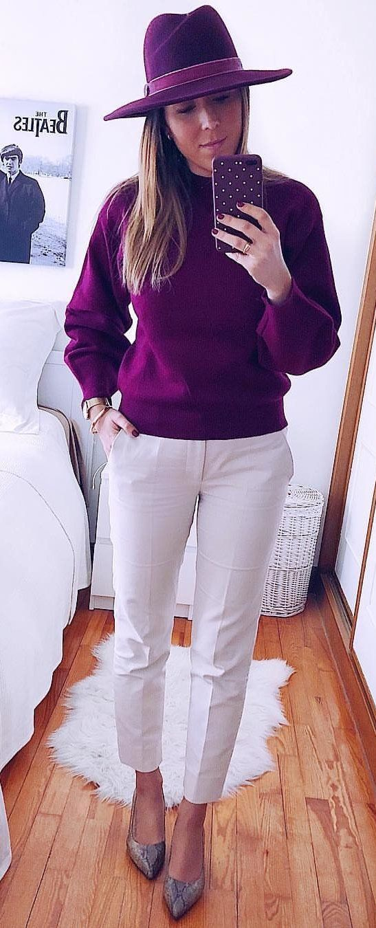purple sweater and wihte dress pants #spring #outfits