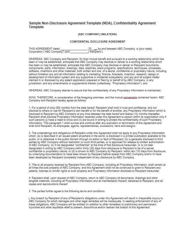 Confidentiality Agreement Free Template Confidentiality Agreement - non disclosure agreement form