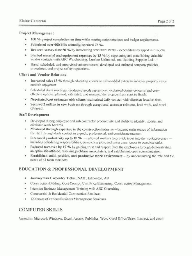 How To Write A Construction Resume Resume Sample 23 Construction