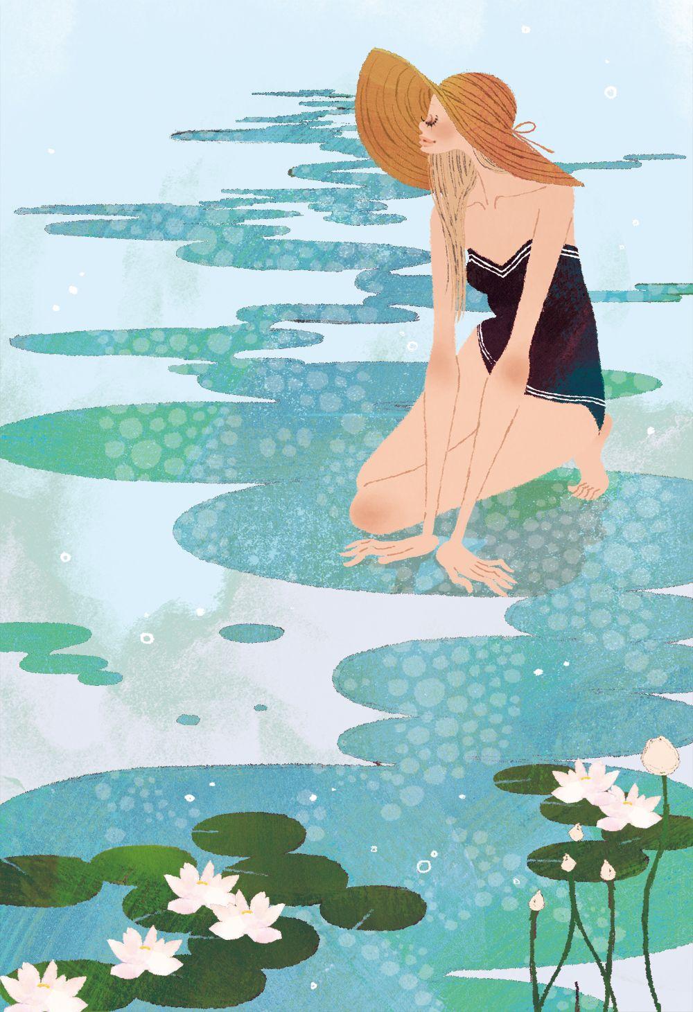 Springtime illustration by Yuko Yoshioka.