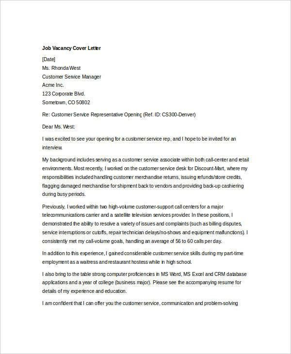Satellite controller cover letter