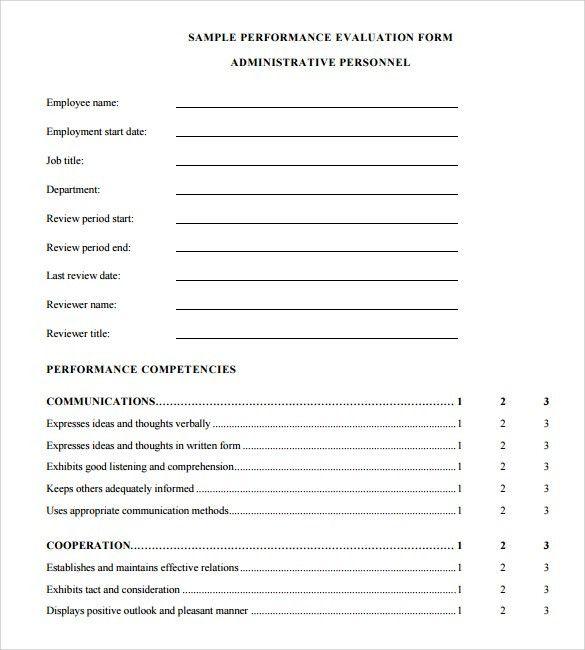 Performance Appraisal Format Sample 8 Hr Appraisal Forms Hr - employee appraisal form sample