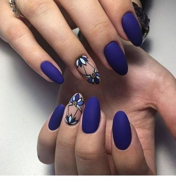 Sweet navy matte nails with a print