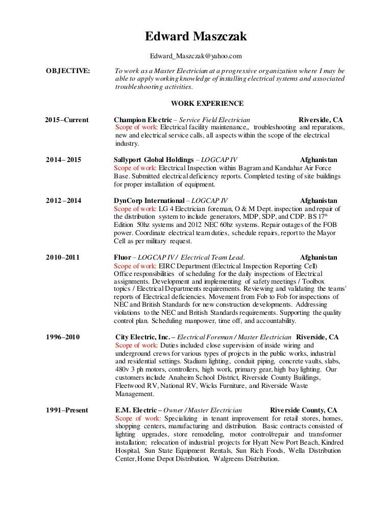 Electrician Duties So Just What Are The Duties Of The Commercial - master electrician resume