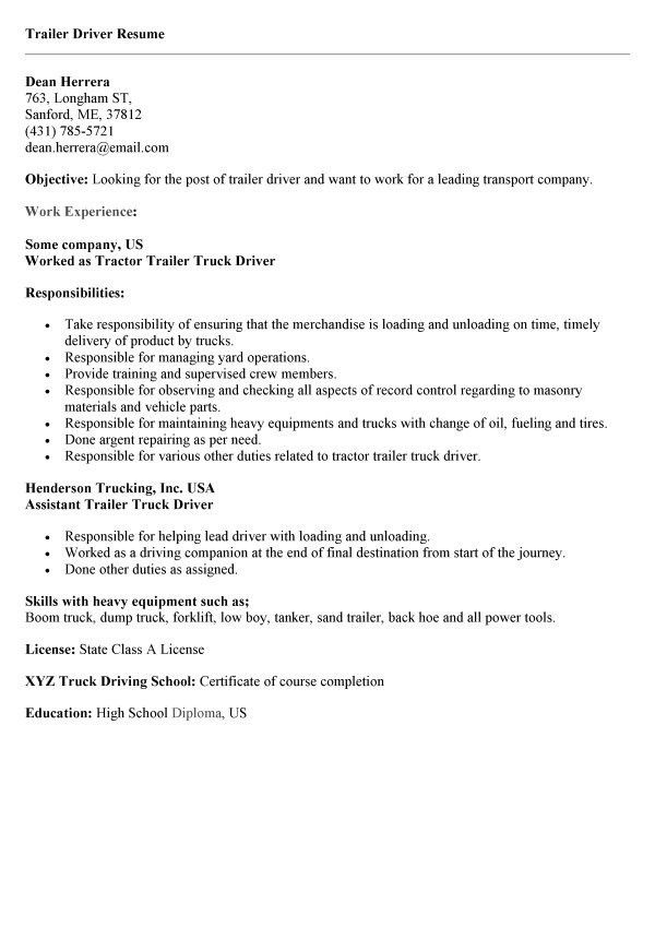 Tractor Trailer Driver Cover Letter