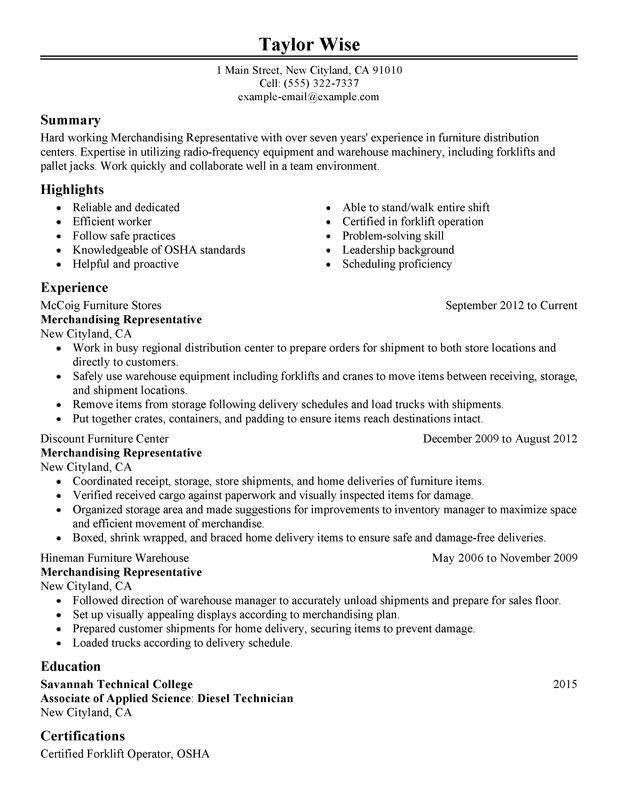 Forklift Operator Resume Unforgettable Forklift Operator Resume - forklift resume samples