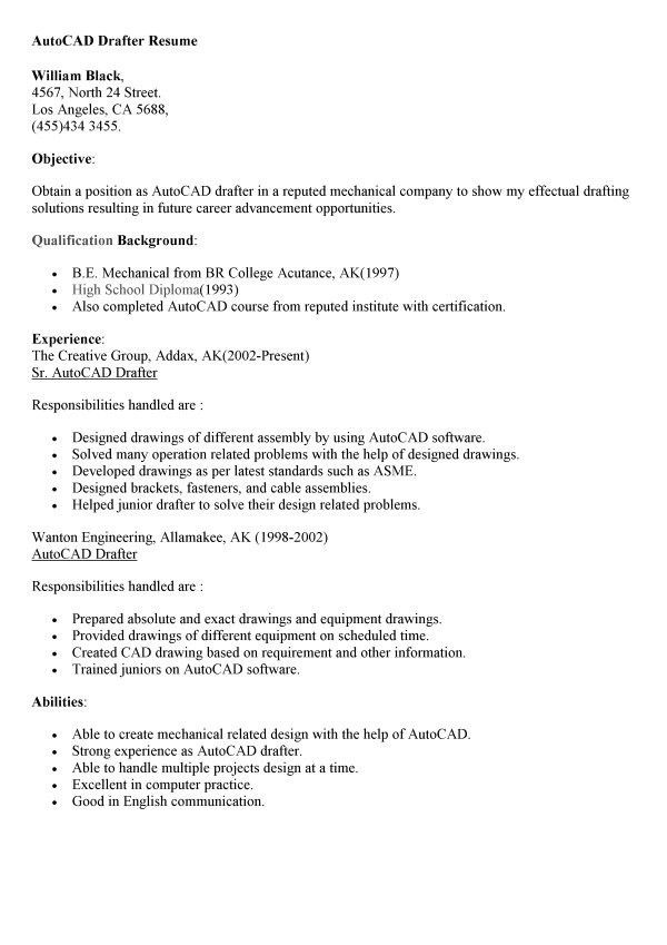 drafter resume sample