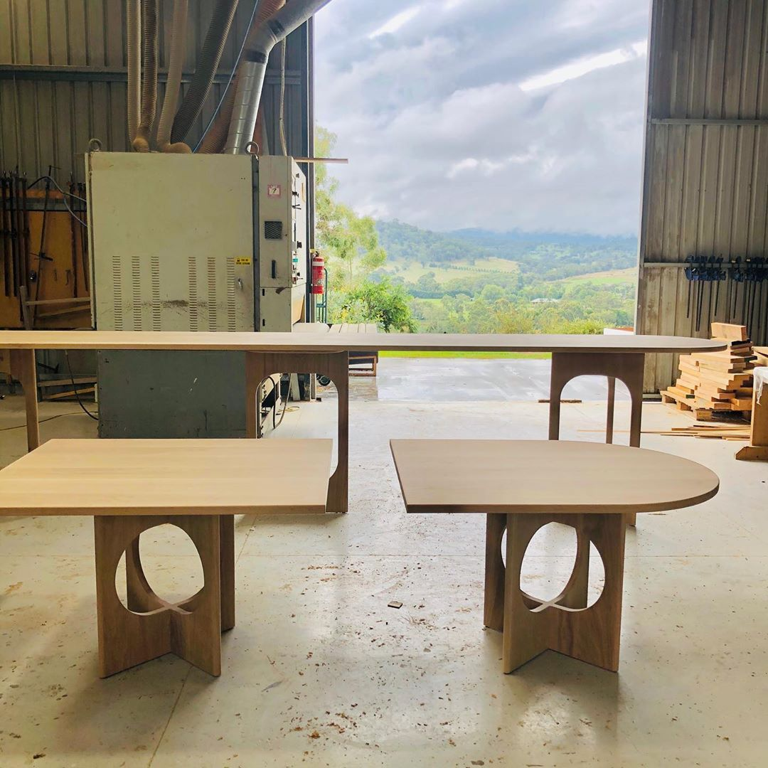 "Nicholls Design on Instagram: ""Tables are almost ready for their new space at HRL Morrison co. Available @zenithinteriors  Archie tall bench in background is a modest 5…"""