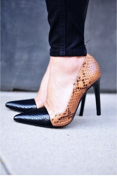 Nice animal printed shoes and black jeans