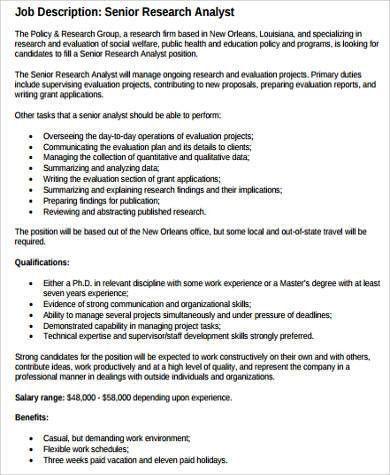 Data Quality Analyst Job Description Data Quality Analyst Job - research analyst job description