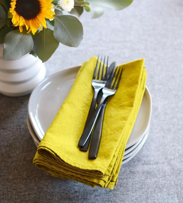 Add a sunny accent to your table. Just two sets of goldenrod linen napkins left in the shop.