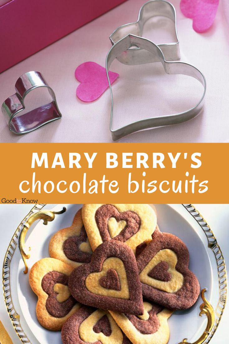 Mary Berry's chocolate heart biscuits are easy to make and are great homemade food gifts! Former Great British Bake Off judge Mary Berry's biscuit recipe is easy to make and delicious too. These biscuits would make the perfect food gift for Valentine's Day. This recipe makes 30 biscuits in total – perfect for sharing with friends and family. #maryberry #greatbritishbakeoff #maryberryrecipes #maryberrybiscuits #chocolatebiscuitrecipe #chocolatebiscuit #valentinesday #foodgiftshomemade