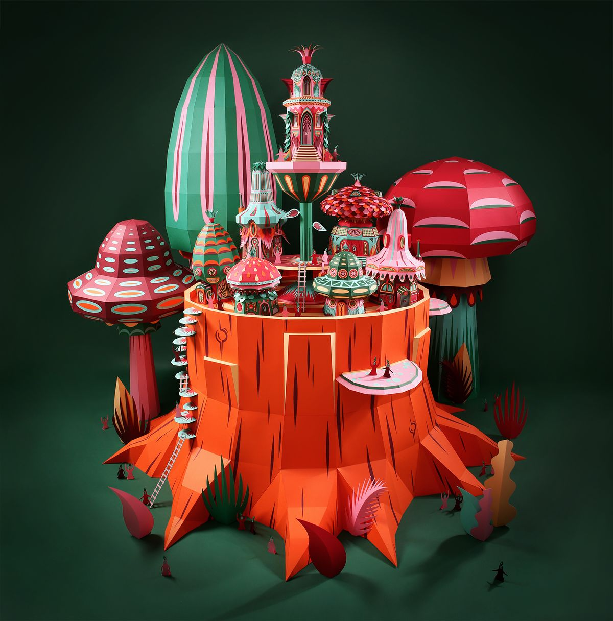 Intricate fairytale forest made with paper by Zim & Zou