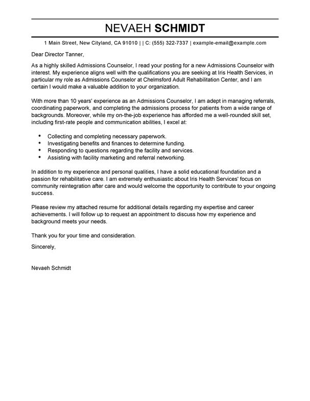 Awesome ... Admissions Counselor Cover Letter Best Admissions Counselor Cover   Head  Counselor Cover Letter ...