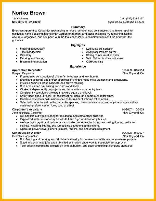 Gallery of carpentry apprentice sample resume air quality engineer