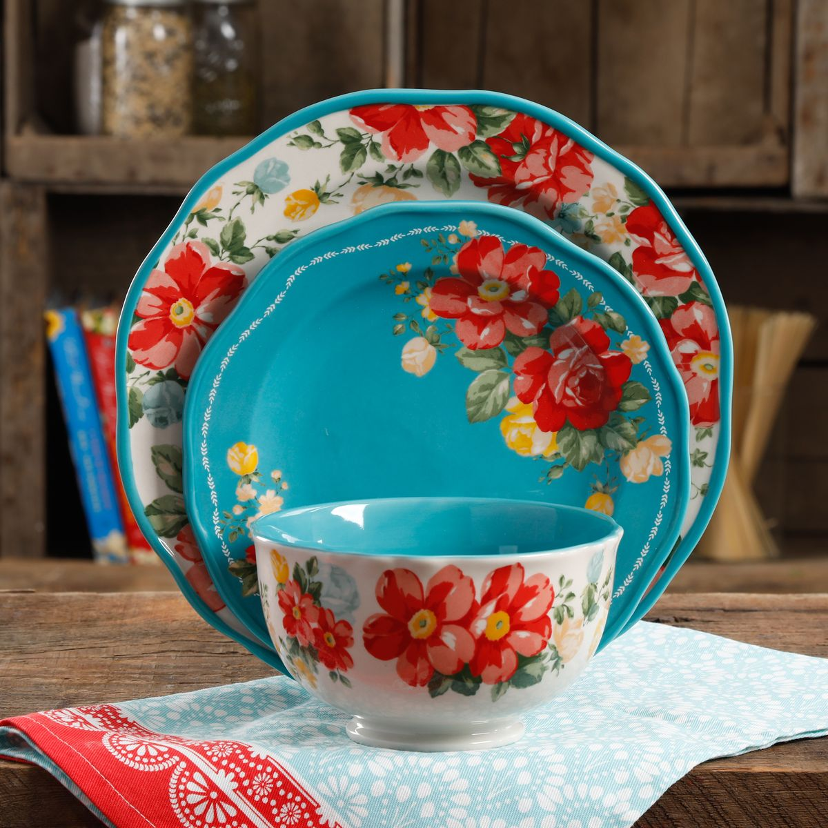 Free 2-day shipping. Buy The Pioneer Woman Vintage Floral 12-Piece Dinnerware Set, Teal at Walmart.com