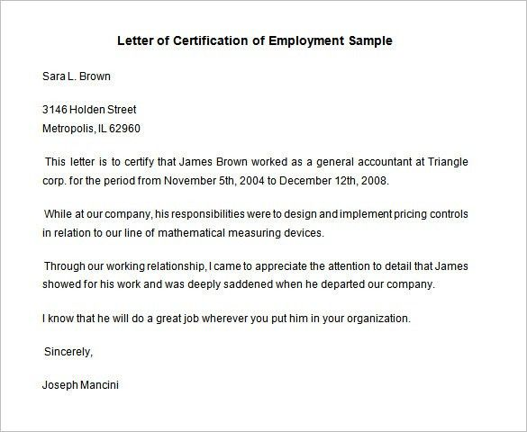 Certificate Of Recommendation Sample 8 Character Letters Of - certification of employment sample