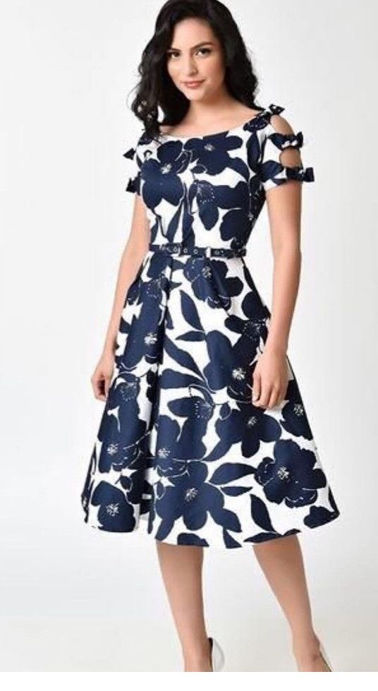 Cute white and navy floral dress