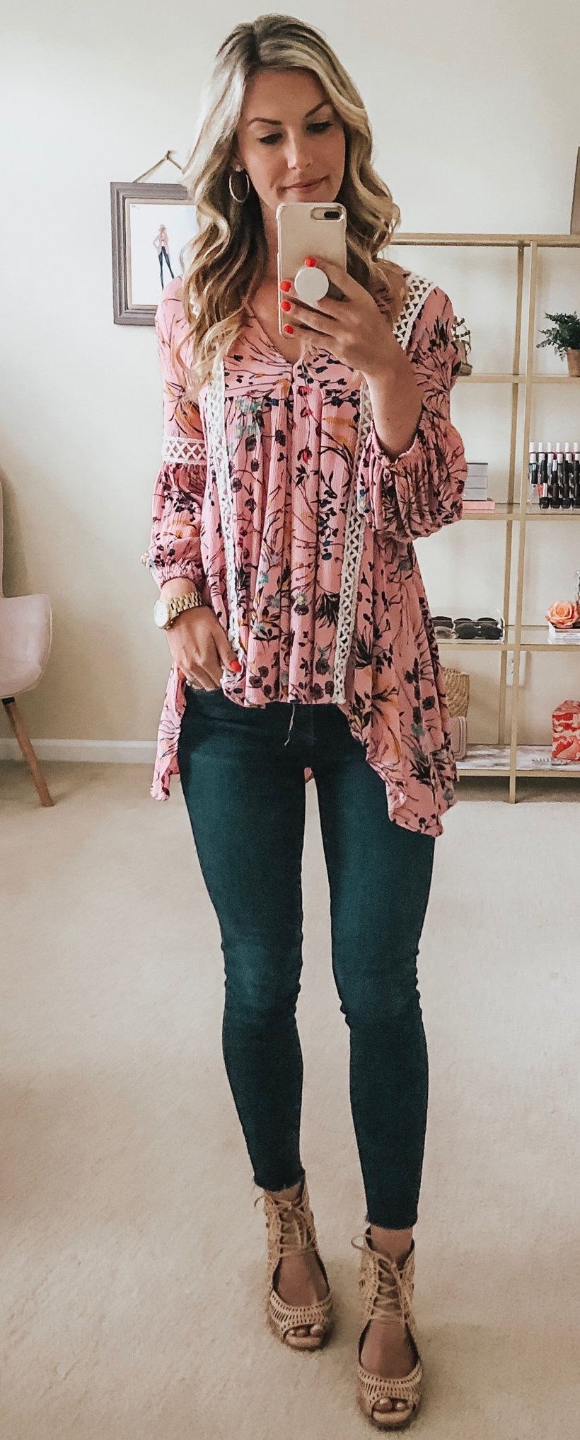 pink floral long-sleeved shirt #summer #outfits
