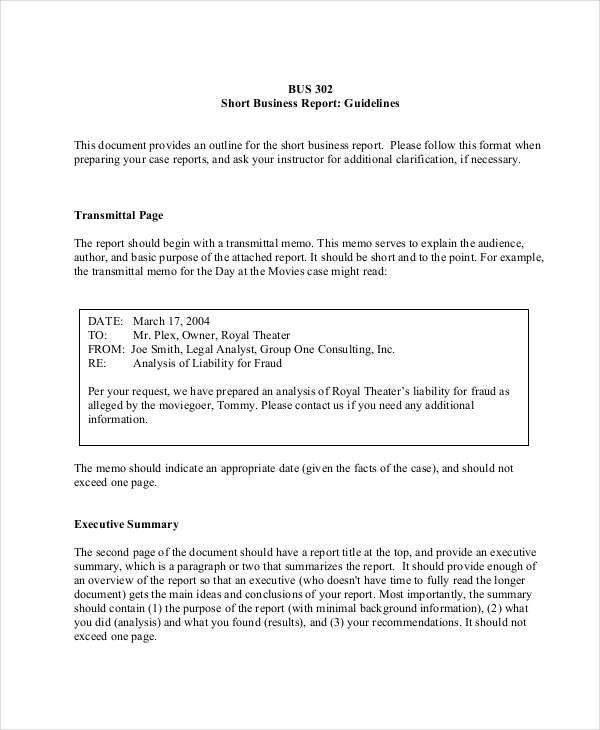Formal Business Report Sample executive summary outline template - one page executive summary template
