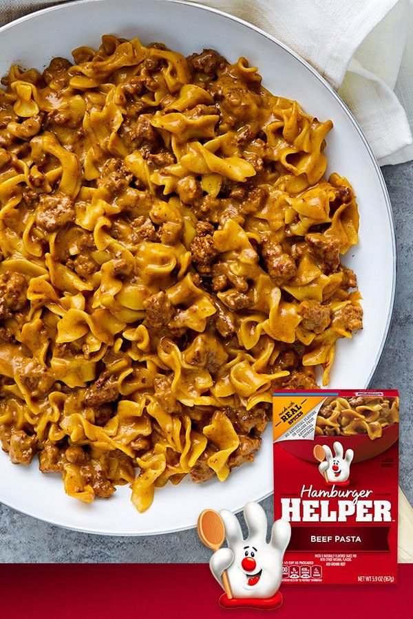 Beef Pasta Hamburger Helper is made with REAL spices for the flavors you love most. Our products are made with NO artificial flavors or colors from artificial sources. Add Your Own Twist! Turn this flavor up even more! Add chopped onions to beef just before simmering. Stir in cooked mixed vegetables before serving.