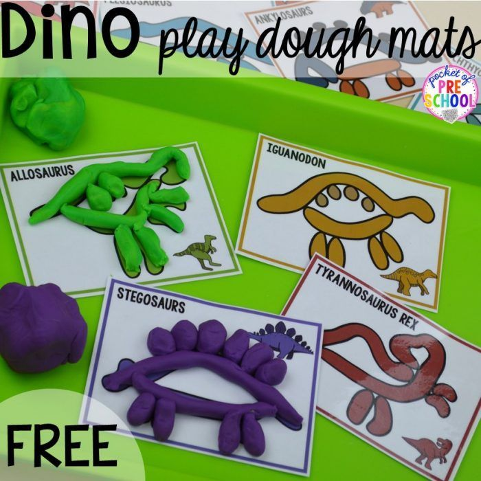 FREE dinosaur play dough mats plus tons of dinosaur themed activities & centers your preschool, pre-k, and kindergarten students will love! #preschool #pocketofpreschool #playdohmats