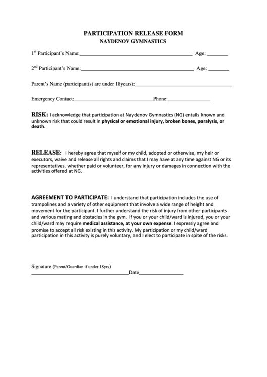General Release Form Template General Release Form 7 Free Samples - general release of liability form template