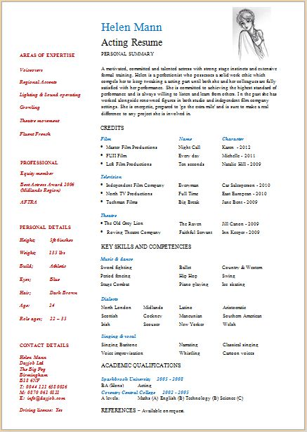 Resume Format For Actors Acting Resume Template Daily Actor, Best - theatrical resume format