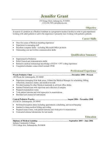 medical resume objective examples best 25 resume objective sample - Medical Resume Objective