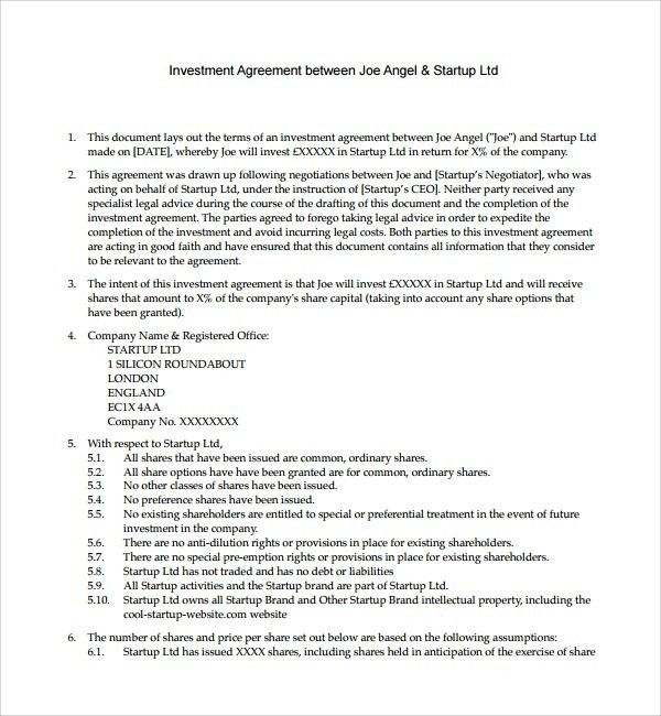 Business investment contract cvresumeoudunispace investor agreement template investors agreement investor contract business investment contract platinumwayz