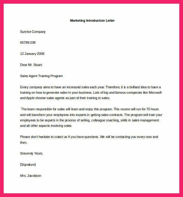 Marketing Introduction Letter Samples Marketing Letter Template - introduction letter format